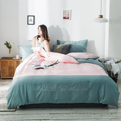 2020新款天丝绣花系列四件套 1.2m床单款三件套 浅绿粉玉