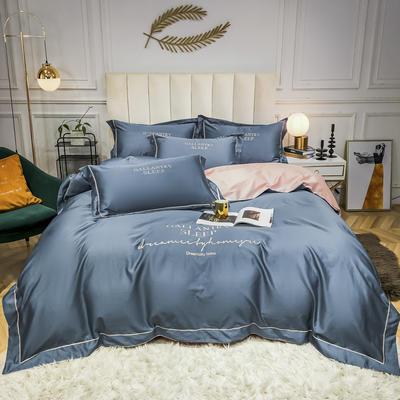 2020新款60支40S长绒棉四件套新款欧式刺绣纯棉四件套 1.2m(4英尺)床单款 宾利蓝