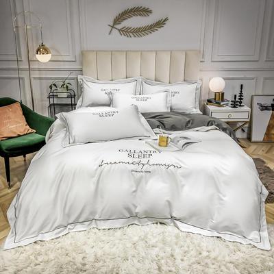 2020新款40s60s全棉纯棉贡缎长绒棉四件套 1.5m床单款四件套 本白