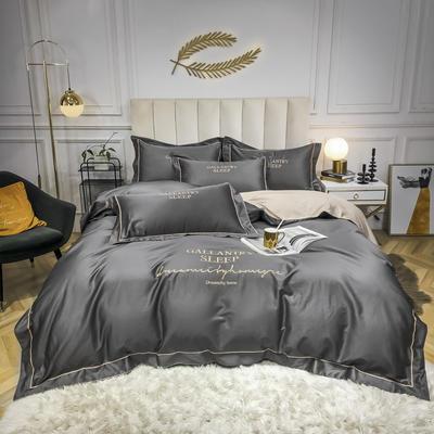2020新款40s60s全棉纯棉贡缎长绒棉四件套 1.5m床单款四件套 高级灰