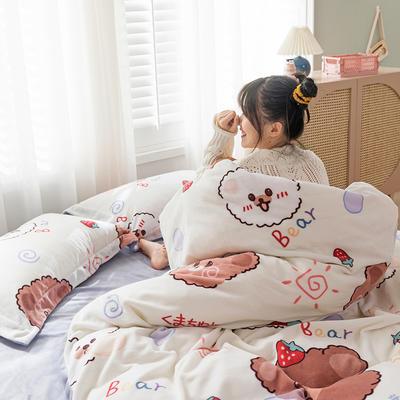 2020新款牛奶绒印花大版四件套(棚拍) 1.5m床单款四件套 泡泡熊