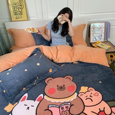 2020新款牛奶绒印花大版四件套(实拍) 1.5m床单款四件套 晚安熊