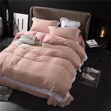 韩版水洗棉四件套系列 标准(1.5-1.8m)床 简单生活--橘