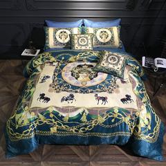 乐丁家纺    纯棉贡缎提花数码印花六件套(四件套+两个抱枕) 1.5-1.8m床 金色庄园