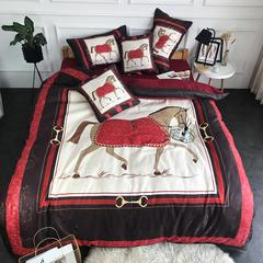乐丁家纺    纯棉贡缎提花数码印花六件套(四件套+两个抱枕) 1.5-1.8m床 战马