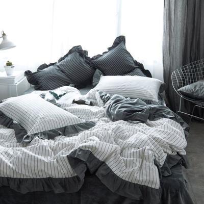 韩版四件套花边款棉加绒四件套 1.2米床(三件套-床单款) 白条纹