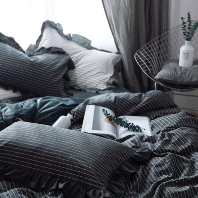 韩版四件套花边款棉加绒四件套 1.2米床(三件套-床笠款) 黑条纹