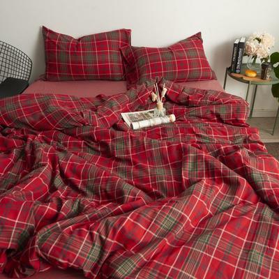 2017专柜同款法兰绒四件套 1.5m(5英尺)床 红格纹-床单款
