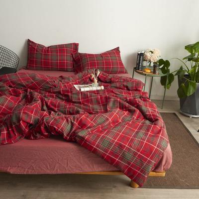 2017专柜同款法兰绒四件套 1.8m(6英尺)床 红格纹-床笠款