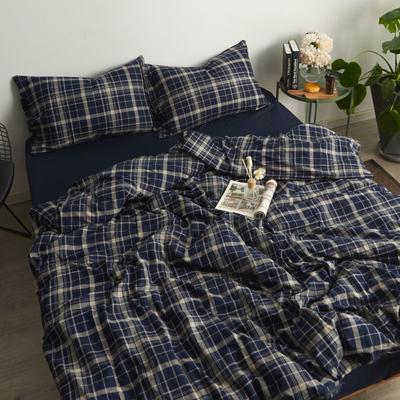 2017专柜同款法兰绒四件套 1.5m(5英尺)床 藏青格纹-床笠款