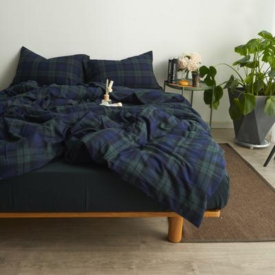 2017专柜同款法兰绒四件套 1.5m(5英尺)床 藏青格纹-床单款
