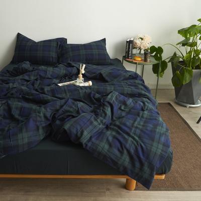 2017专柜同款法兰绒四件套 1.5m(5英尺)床 绿格纹-床单款