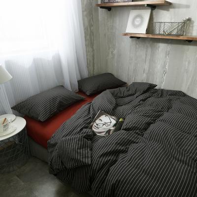 水洗棉四件套(黑条纹系列) 1.2米床(三件套-床单款) 黑配红