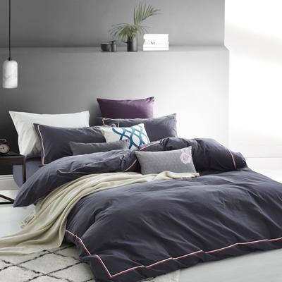 水洗棉四件套织带款花边款 48*74*2枕套 紫夜