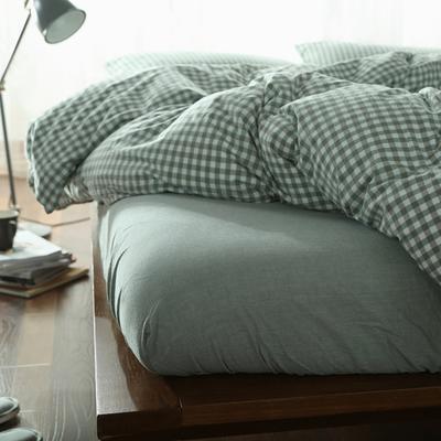水洗棉小格四件套单被套单枕套 1.2米床(三件套-床笠款) 绿小格