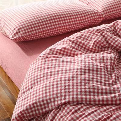 水洗棉小格四件套单被套单枕套 1.2米床(三件套-床笠款) 红色小格