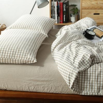 水洗棉小格四件套单被套单枕套 1.2米床(三件套-床笠款) 米色小格