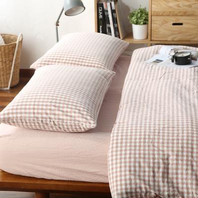 水洗棉小格四件套单被套单枕套 1.2米床(三件套-床笠款) 浅粉小格