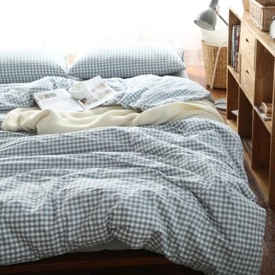 水洗棉小格四件套单被套单枕套 1.2米床(三件套-床笠款) 浅兰小格