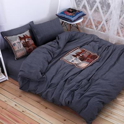 水洗棉四件套(暗黑-贴布绣系列) 靠枕套+芯子 深灰-猫