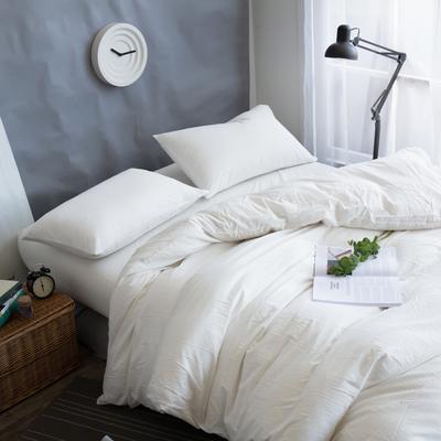 水洗棉纯色系四件套单被套单枕套 1.2米床(三件套-床单款) 本白