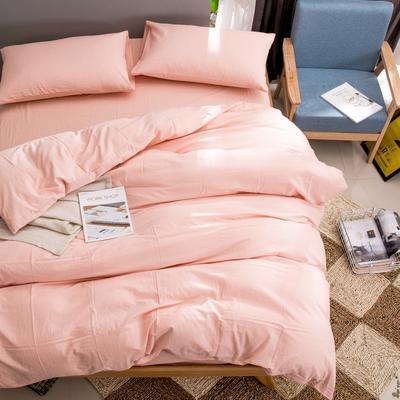 水洗棉纯色系四件套单被套单枕套 1.2米床(三件套-床单款) 粉玉