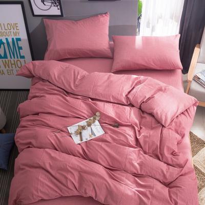 水洗棉纯色系四件套单被套单枕套 1.2米床(三件套-床单款) 燕脂