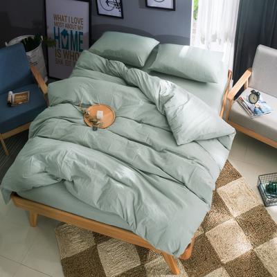 水洗棉纯色系四件套单被套单枕套 1.2米床(三件套-床单款) 水绿