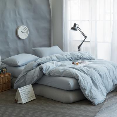 水洗棉纯色系四件套单被套单枕套 1.2米床(三件套-床单款) 浅兰