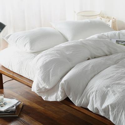 水洗棉四件套(纯色系列) 1.2m床单款(三件套) 素白纯色