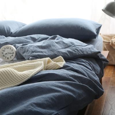 水洗棉纯色系四件套单被套单枕套 1.2米床(三件套-床单款) 牛仔蓝