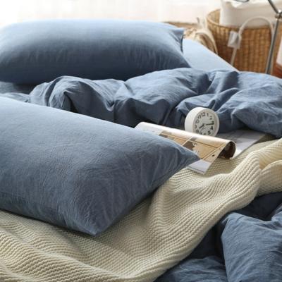 水洗棉四件套(纯色系列) 1.2m床单款(三件套) 牛仔蓝