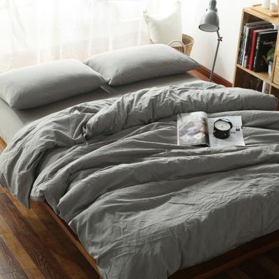 水洗棉纯色系四件套单被套单枕套 1.2米床(三件套-床单款) 浅灰