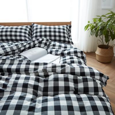 棉法兰绒四件套(摩登黑白格) 枕套(47x74cm)/对 摩登黑白格