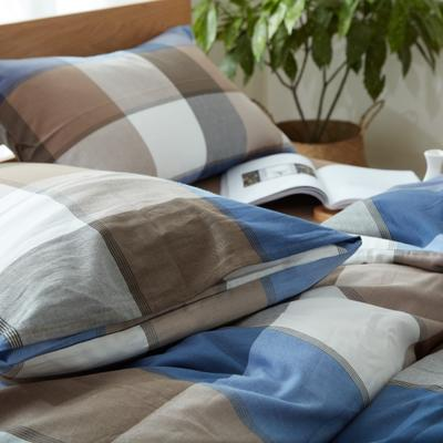 棉法兰绒四件套(蓝调) 枕套(48x74cm)/对 蓝调