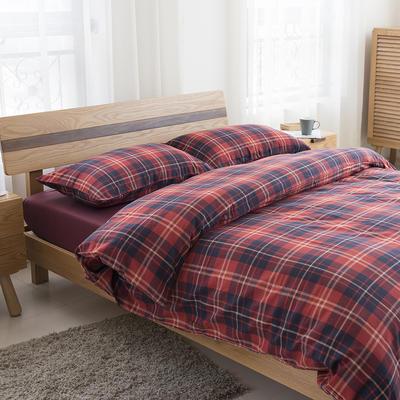 经典全棉色织法兰绒四件套 单品被套 单品枕套 48*74一只 英伦格-酒红