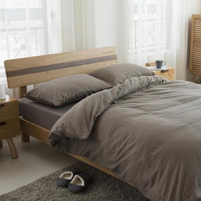 经典全棉色织法兰绒四件套 单品被套 单品枕套 48*74一只 千鸟格-棕色