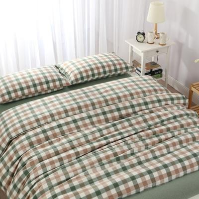 水洗棉七分格 四件套 单被套 单枕套 1.2米床(三件套-床笠款) 七分绿格