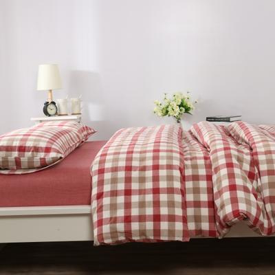 水洗棉七分格 四件套 单被套 单枕套 1.2米床(三件套-床单款) 七分红格