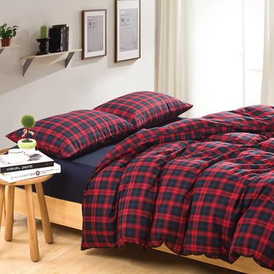 经典全棉色织法兰绒四件套 单品被套 单品枕套 1.2米床(三件套-床笠款) 英伦格-藏青