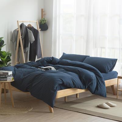 水洗棉四件套 1.2m(4英尺)床 小蓝格