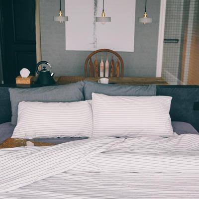 水洗棉四件套(白条纹系列) 1.2m床单款(三件套) 白配灰