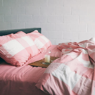 水洗棉四件套(大格系列) 1.2m床单款(三件套) 粉白大格