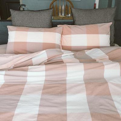 水洗棉四件套(大格系列) 1.2m床单款(三件套) 粉灰大格