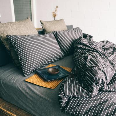 水洗棉四件套(黑条纹系列) 1.2米床(三件套-床单款) 黑配灰