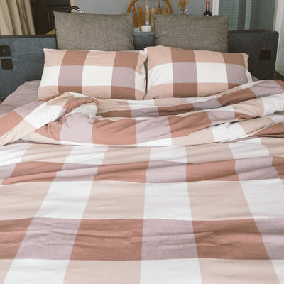 水洗棉四件套(大格系列) 1.2m床单款(三件套) 咖大格