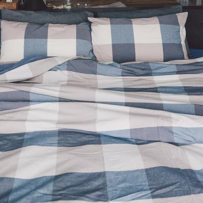 水洗棉四件套(大格系列) 1.2m床单款(三件套) 蓝大格