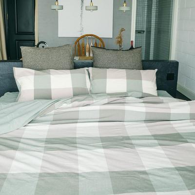 水洗棉四件套(大格系列) 1.2m床单款(三件套) 绿大格