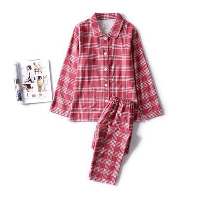 2018秋冬新款-法兰绒家居服(女款) M适合体重(110斤内) 红色格纹