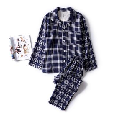 2018秋冬新款-法兰绒家居服(男款) M适合体重(135斤内) 蓝色格纹